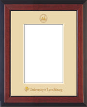 Image of University of Lynchburg 5 x 7 Photo Frame - Cherry Reverse - w/Official Embossing of UL Seal & Name - Single Cream mat