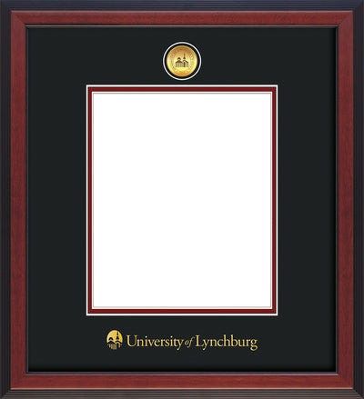 Image of University of Lynchburg Diploma Frame - Cherry Reverse - w/24k Gold Plated Medallion UL Name Embossing - Black on Crimson Mat