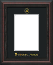 Image of University of Lynchburg 5 x 7 Photo Frame - Mahogany Braid - w/Official Embossing of UL Seal & Name - Single Black mat