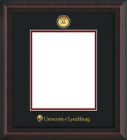 Image of University of Lynchburg Diploma Frame - Mahogany Braid - w/24k Gold Plated Medallion UL Name Embossing - Black on Crimson Mat