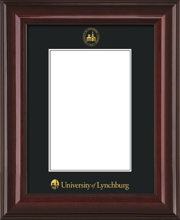 Image of University of Lynchburg 5 x 7 Photo Frame - Mahogany Lacquer - w/Official Embossing of UL Seal & Name - Single Black mat