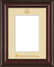 Image of University of Lynchburg 5 x 7 Photo Frame - Mahogany Lacquer - w/Official Embossing of UL Seal & Name - Single Cream mat