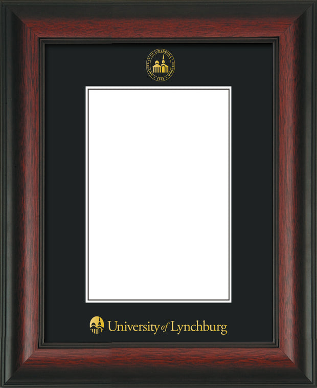 Image of University of Lynchburg 5 x 7 Photo Frame - Rosewood - w/Official Embossing of UL Seal & Name - Single Black mat