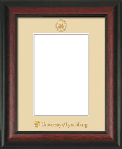Image of University of Lynchburg 5 x 7 Photo Frame - Rosewood - w/Official Embossing of UL Seal & Name - Single Cream mat