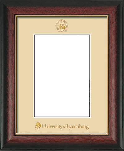 Image of University of Lynchburg 5 x 7 Photo Frame - Rosewood with Gold Lip - w/Official Embossing of UL Seal & Name - Single Cream mat