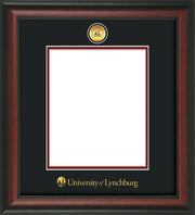 Image of University of Lynchburg Diploma Frame - Rosewood - w/24k Gold Plated Medallion UL Name Embossing - Black on Crimson Mat