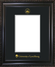 Image of University of Lynchburg 5 x 7 Photo Frame - Vintage Black Scoop - w/Official Embossing of UL Seal & Name - Single Black mat