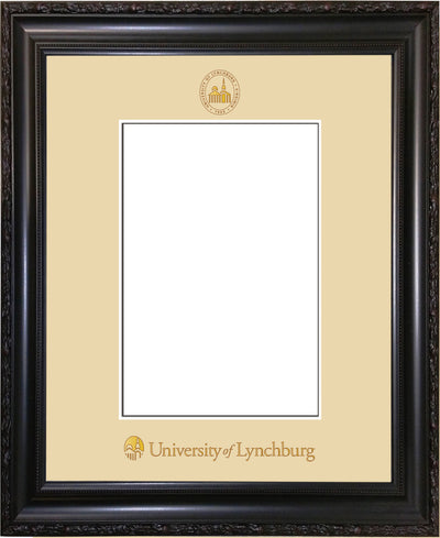 Image of University of Lynchburg 5 x 7 Photo Frame - Vintage Black Scoop - w/Official Embossing of UL Seal & Name - Single Cream mat