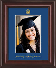 Image of University of South Alabama - 5 x 7 Photo Frame - Mahogany Lacquer - w/Official Embossing of USA Seal & Name - Single Royal Blue mat