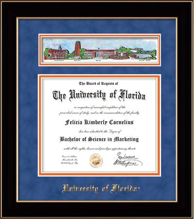 Image of University of Florida Diploma Frame - Black Lacquer - w/UF Embossed School Name Only - Campus Collage - Royal Blue Suede on Orange mat