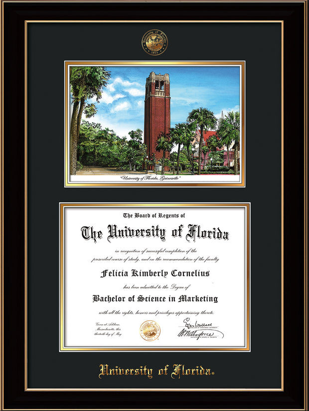 Image of University of Florida Diploma Frame - Black Lacquer - w/UF Embossed Seal & Name - Campus Watercolor - Black on Gold mat