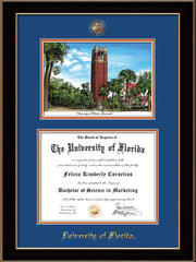 Image of University of Florida Diploma Frame - Black Lacquer - w/UF Embossed Seal & Name - Campus Watercolor - Royal Blue on Orange mat