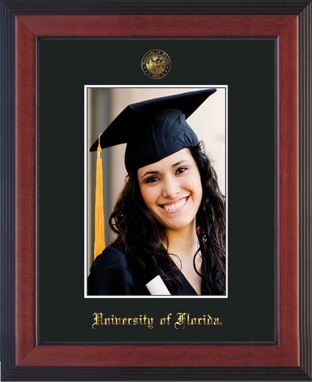 Image of University of Florida 5 x 7 Photo Frame - Cherry Reverse - w/Official Embossing of UF Seal & Name - Single Black mat