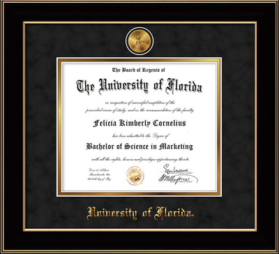 Image of University of Florida Diploma Frame - Black Lacquer - w/24k Gold-Plated Medallion UF Name Embossing - Black Suede on Gold mats
