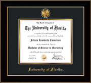 Image of University of Florida Diploma Frame - Black Lacquer - w/24k Gold-Plated Medallion UF Name Embossing - Black on Gold mats