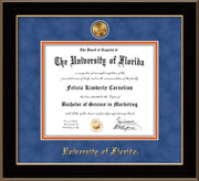 Image of University of Florida Diploma Frame - Black Lacquer - w/24k Gold-Plated Medallion UF Name Embossing - Royal Blue Suede on Orange mats