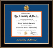 Image of University of Florida Diploma Frame - Black Lacquer - w/24k Gold-Plated Medallion UF Name Embossing - Royal Blue on Orange mats