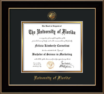 Image of University of Florida Diploma Frame - Black Lacquer - w/UF Embossed Seal & Name - Black on Gold mat