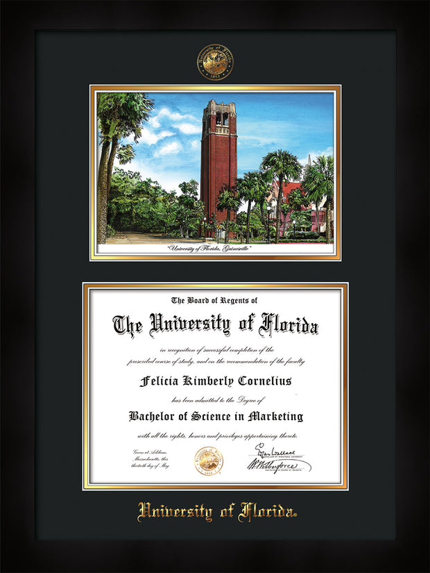 Image of University of Florida Diploma Frame - Flat Matte Black - w/UF Embossed Seal & Name - Campus Watercolor - Black on Gold mat