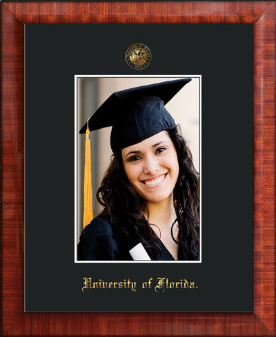 Image of University of Florida 5 x 7 Photo Frame - Mezzo Gloss - w/Official Embossing of UF Seal & Name - Single Black mat