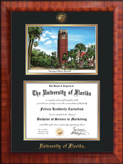 Image of University of Florida Diploma Frame - Mezzo Gloss - w/UF Embossed Seal & Name - Campus Watercolor - Black on Gold mat