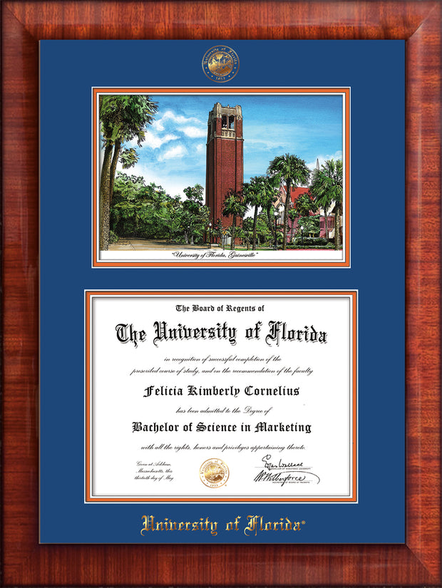 Image of University of Florida Diploma Frame - Mezzo Gloss - w/UF Embossed Seal & Name - Campus Watercolor - Royal Blue on Orange mat