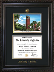 Image of University of Florida Diploma Frame - Vintage Black Scoop - w/UF Embossed Seal & Name - Campus Watercolor - Black on Gold mat