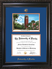 Image of University of Florida Diploma Frame - Vintage Black Scoop - w/UF Embossed Seal & Name - Campus Watercolor - Royal Blue on Orange mat