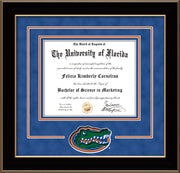 Image of University of Florida Diploma Frame - Black Lacquer - 3D Laser UF Gator Head Logo Cutout - Royal Blue Suede on Orange on Royal Blue mat