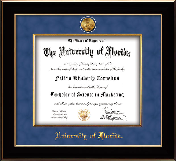 Image of University of Florida Diploma Frame - Black Lacquer - w/24k Gold-Plated Medallion & Fillet - w/UF Name Embossing - Royal Blue Suede mat