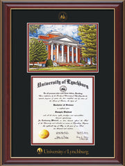 Image of University of Lynchburg Diploma Frame - Cherry Lacquer - w/Embossed UL Seal & Name - w/Campus Watercolor - Black on Crimson mat