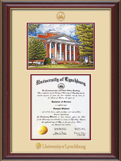 Image of University of Lynchburg Diploma Frame - Cherry Lacquer - w/Embossed UL Seal & Name - w/Campus Watercolor - Cream on Crimson mat