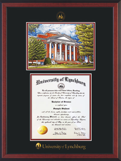 Image of University of Lynchburg Diploma Frame - Cherry Reverse - w/Embossed UL Seal & Name - w/Campus Watercolor - Black on Crimson mat