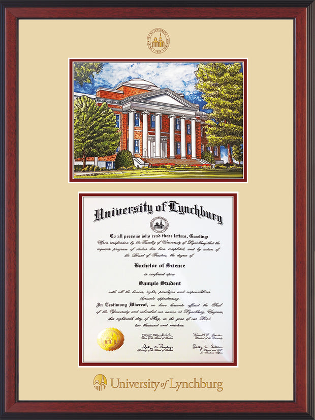 Image of University of Lynchburg Diploma Frame - Cherry Reverse - w/Embossed UL Seal & Name - w/Campus Watercolor - Cream on Crimson mat