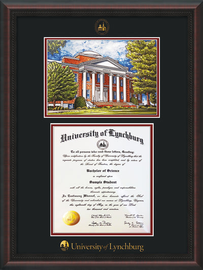 Image of University of Lynchburg Diploma Frame - Mahogany Braid - w/Embossed UL Seal & Name - w/Campus Watercolor - Black on Crimson mat