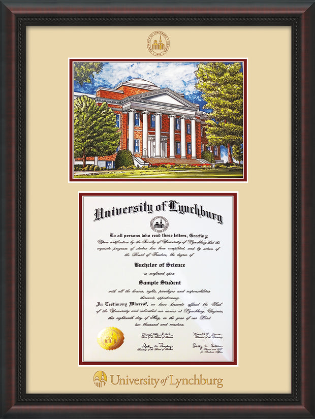 Image of University of Lynchburg Diploma Frame - Mahogany Braid - w/Embossed UL Seal & Name - w/Campus Watercolor - Cream on Crimson mat