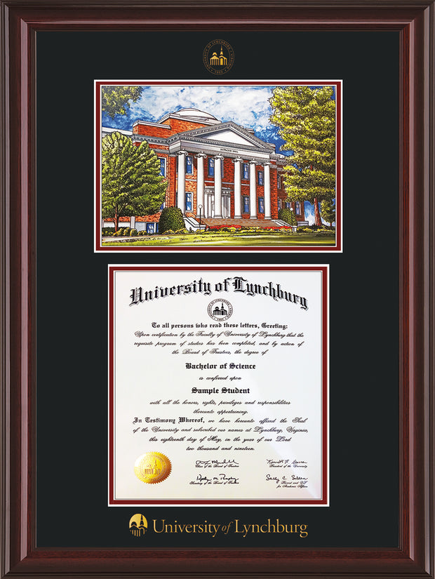 Image of University of Lynchburg Diploma Frame - Mahogany Lacquer - w/Embossed UL Seal & Name - w/Campus Watercolor - Black on Crimson mat