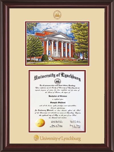 Image of University of Lynchburg Diploma Frame - Mahogany Lacquer - w/Embossed UL Seal & Name - w/Campus Watercolor - Cream on Crimson mat