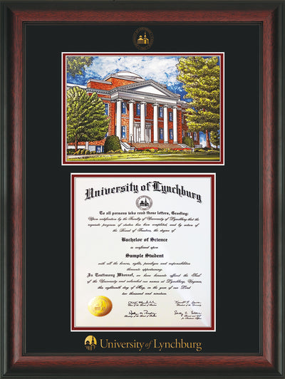 Image of University of Lynchburg Diploma Frame - Rosewood - w/Embossed UL Seal & Name - w/Campus Watercolor - Black on Crimson mat