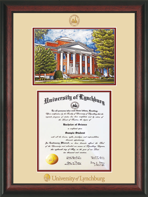 Image of University of Lynchburg Diploma Frame - Rosewood - w/Embossed UL Seal & Name - w/Campus Watercolor - Cream on Crimson mat