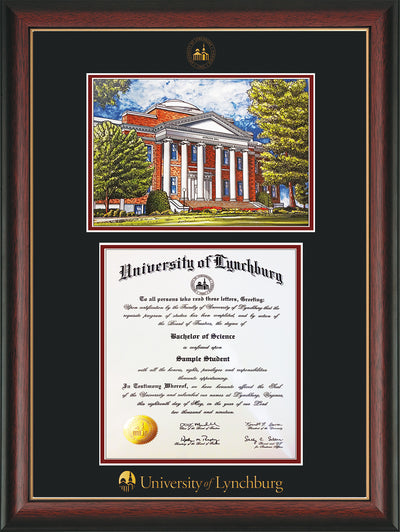 Image of University of Lynchburg Diploma Frame - Rosewood w/Gold Lip - w/Embossed UL Seal & Name - w/Campus Watercolor - Black on Crimson mat