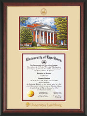 Image of University of Lynchburg Diploma Frame - Rosewood w/Gold Lip - w/Embossed UL Seal & Name - w/Campus Watercolor - Cream on Crimson mat
