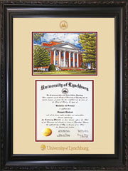 Image of University of Lynchburg Diploma Frame - Vintage Black Scoop - w/Embossed UL Seal & Name - w/Campus Watercolor - Cream on Crimson mat