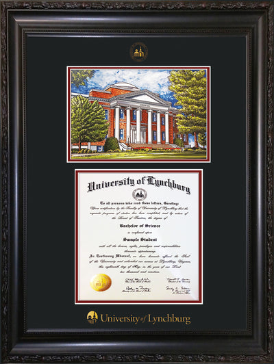 Image of University of Lynchburg Diploma Frame - Vintage Black Scoop - w/Embossed UL Seal & Name - w/Campus Watercolor - Black on Crimson mat