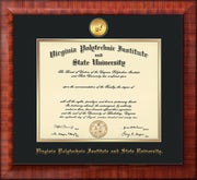Image of Virginia Tech Diploma Frame - Mezzo Gloss - w/24k Gold-Plated Medallion VT Name Embossing - Black on Gold mats