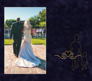 Image of Personalized Photo Frames - Vintage Black Scoop - w/Navy Suede mat - w/Father of the Bride Wedding Design