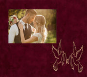 Image of Personalized Photo Frames - Vintage Black Scoop - w/Crimson Suede mat - w/Doves & Ribbon Wedding Design