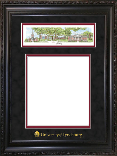 Image of University of Lynchburg Diploma Frame - Vintage Black Scoop - w/Embossed School Name Only - Campus Collage - Black Suede on Crimson mat