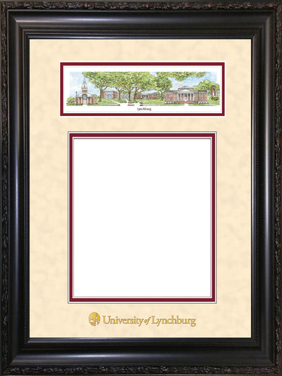 Image of University of Lynchburg Diploma Frame - Vintage Black Scoop - w/Embossed School Name Only - Campus Collage - Cream Suede on Crimson mat