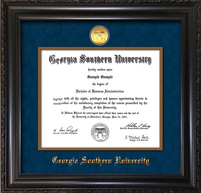 Image of Georgia Southern University Diploma Frame - Vintage Black Scoop - w/24k Gold-Plated Medallion & Vintage Gold Fillet - w/GSOU Name Embossing - Navy Suede mat